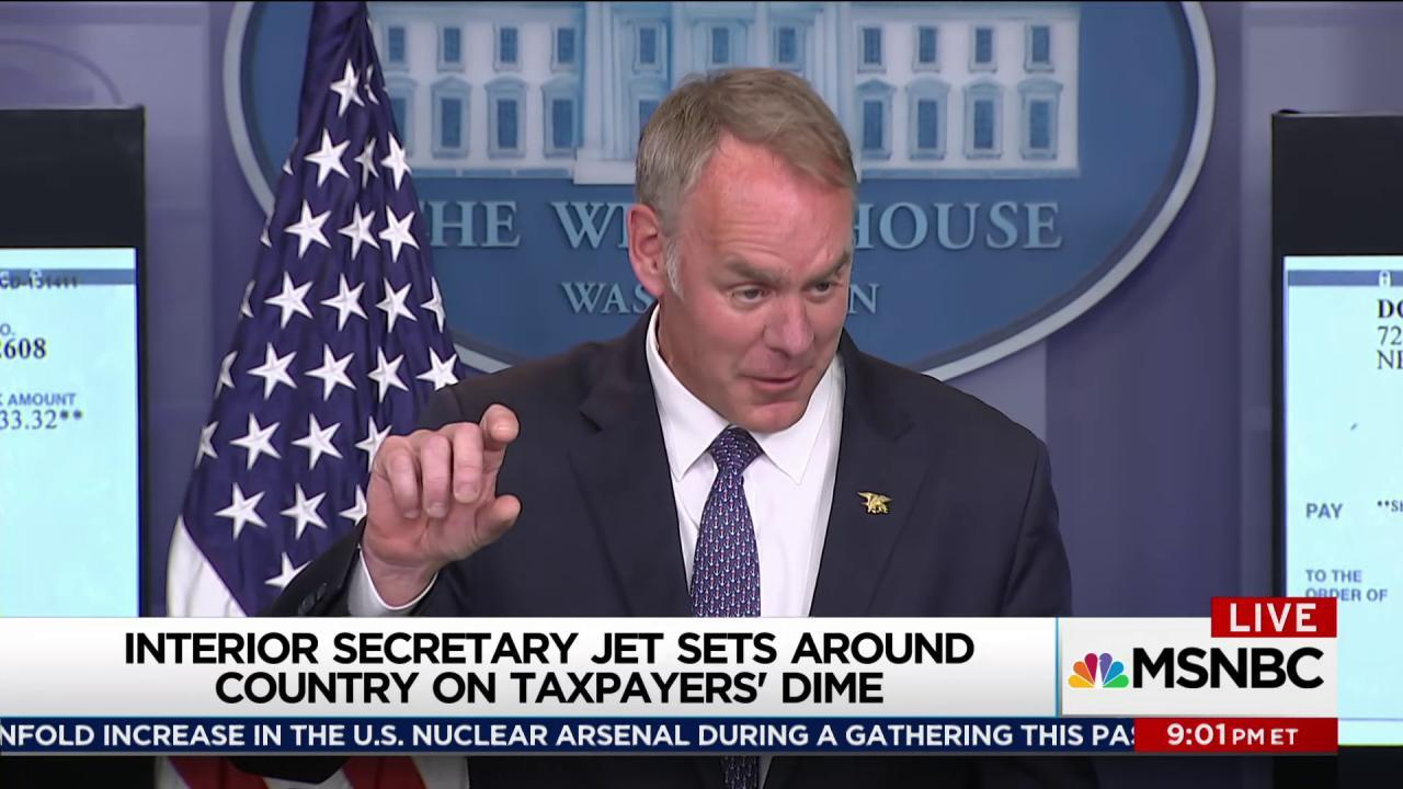 Zinke having awesome time with taxpayer money