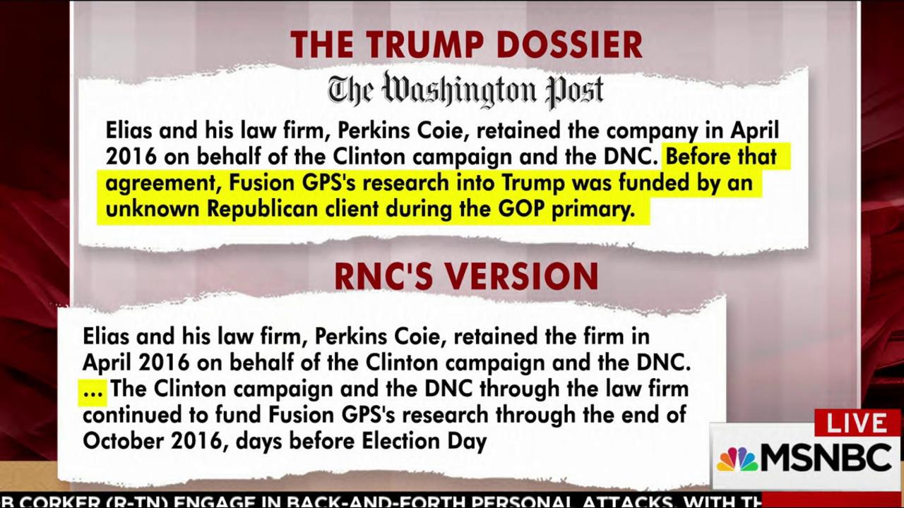 What RNC version of Trump dossier story...