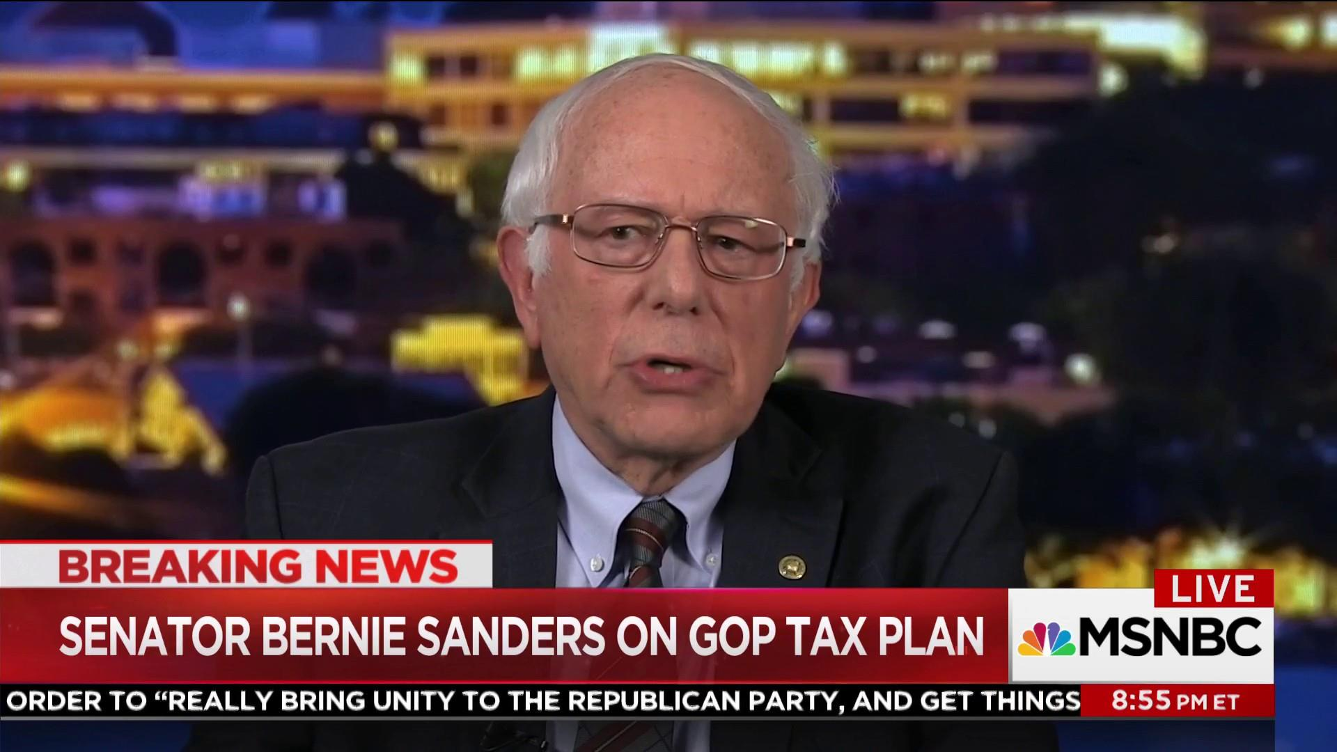 Bernie Sanders reacts to the Republican...