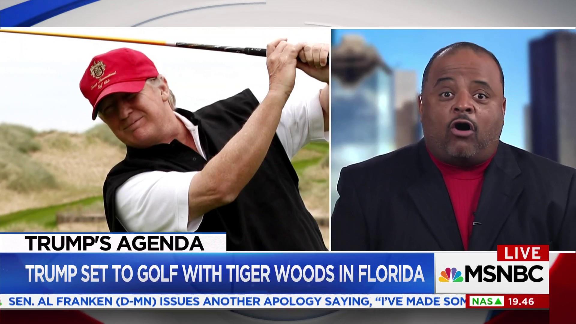 President Trump golfs with Tiger Woods and...