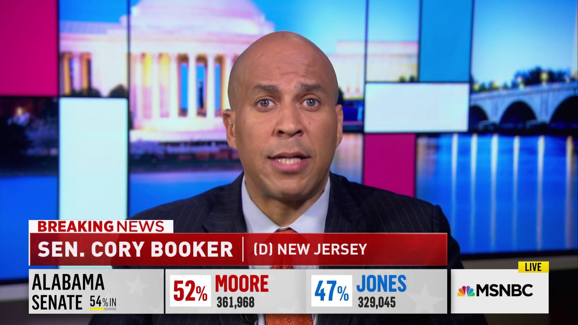 Booker: We cannot allow Roy Moore to serve