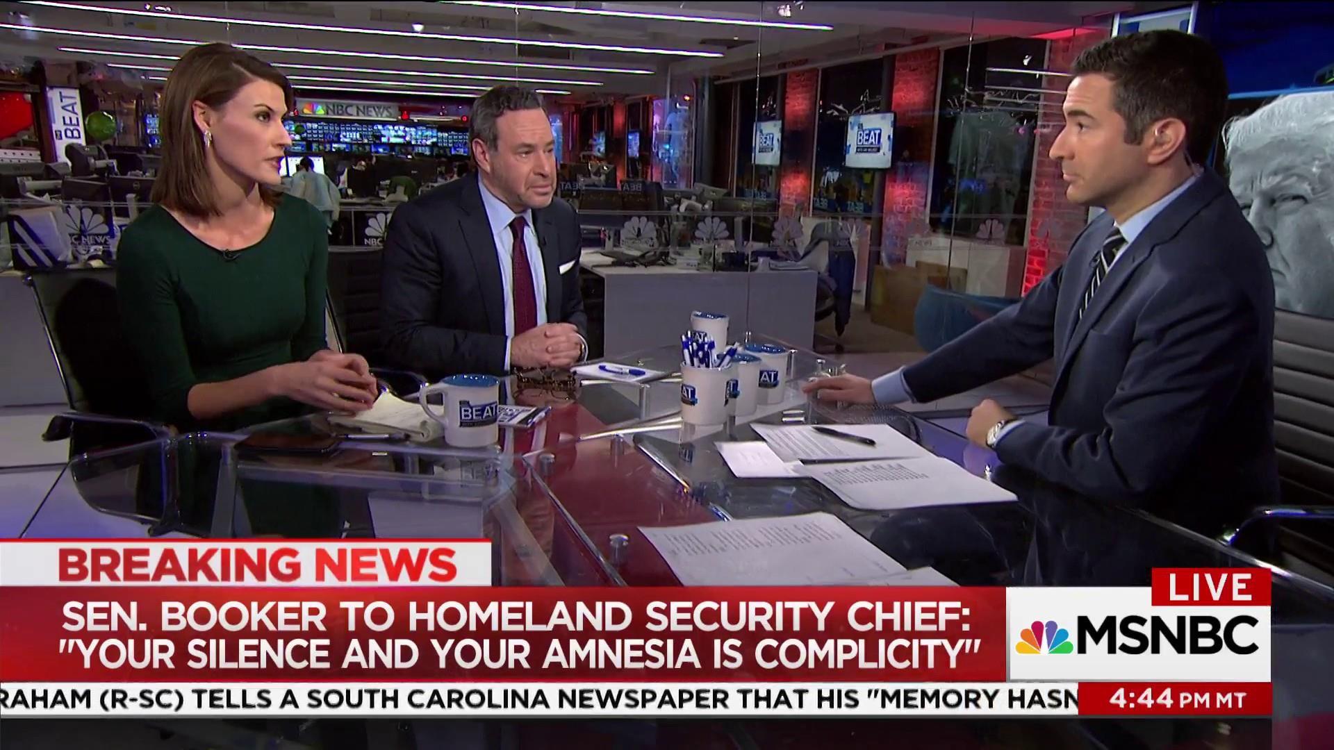 "Sen. Booker slams DHS Secretary for ""silence and amnesia"""