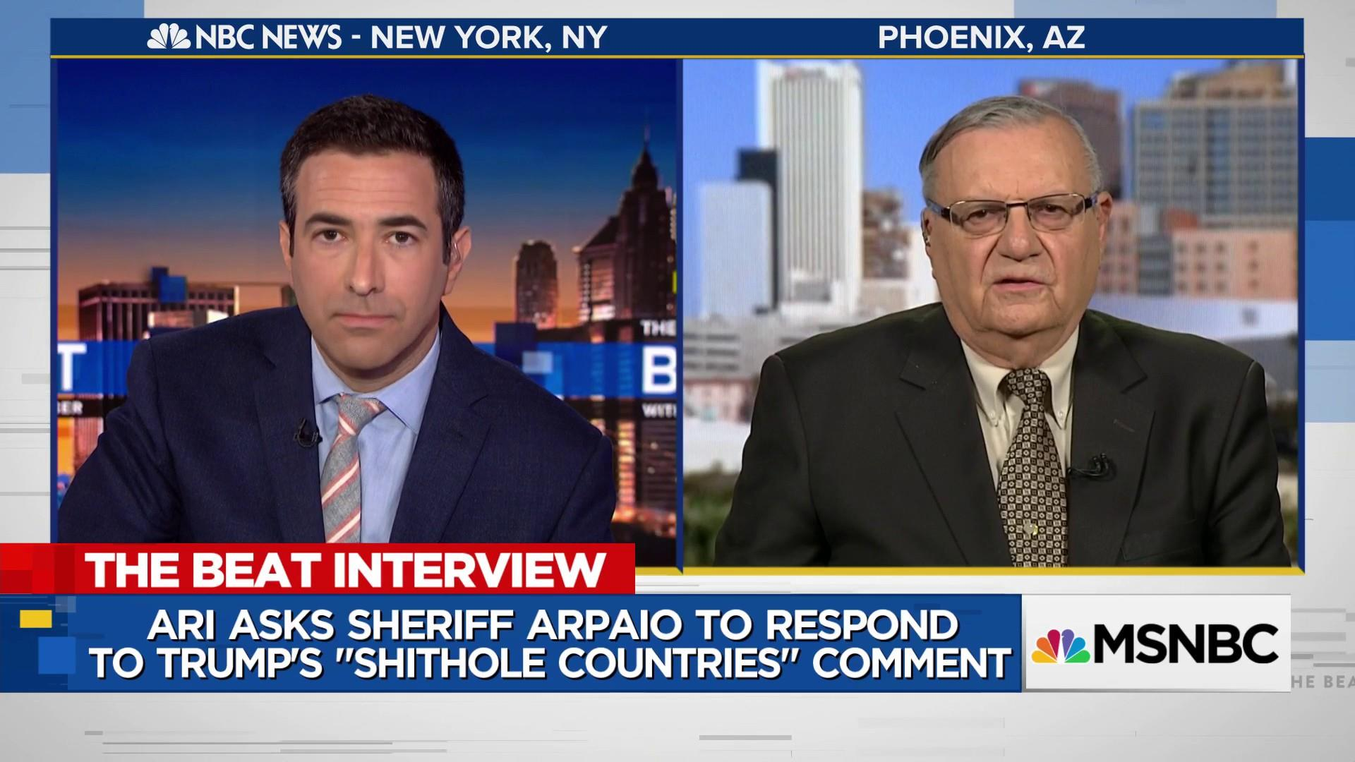 "Joe Arpaio's first response to Trump's ""shithole"" comment"
