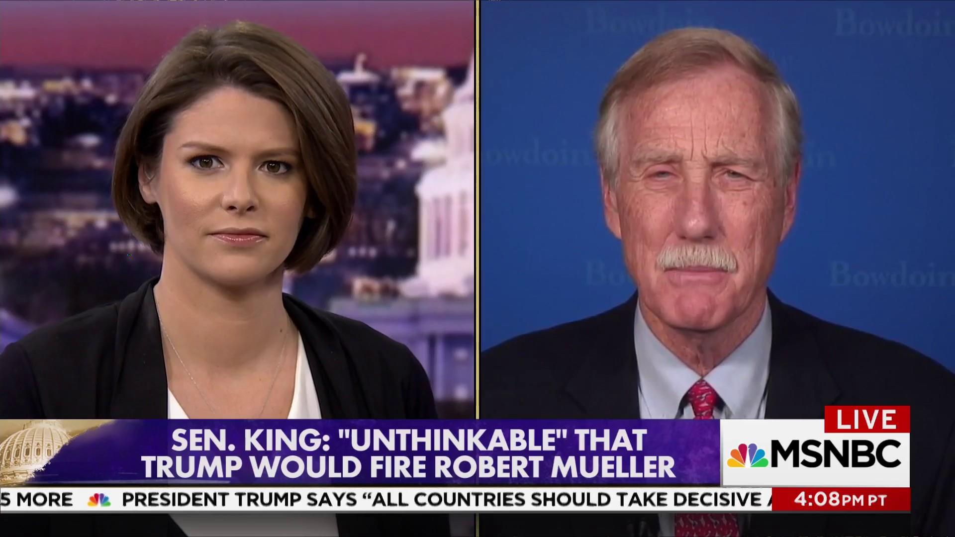 "Sen. King: ""It would be a huge mistake"" to fire Mueller"