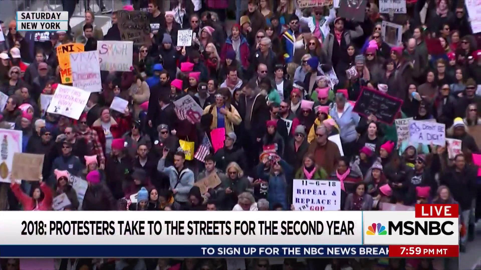 Huge crowds return for second Women's March