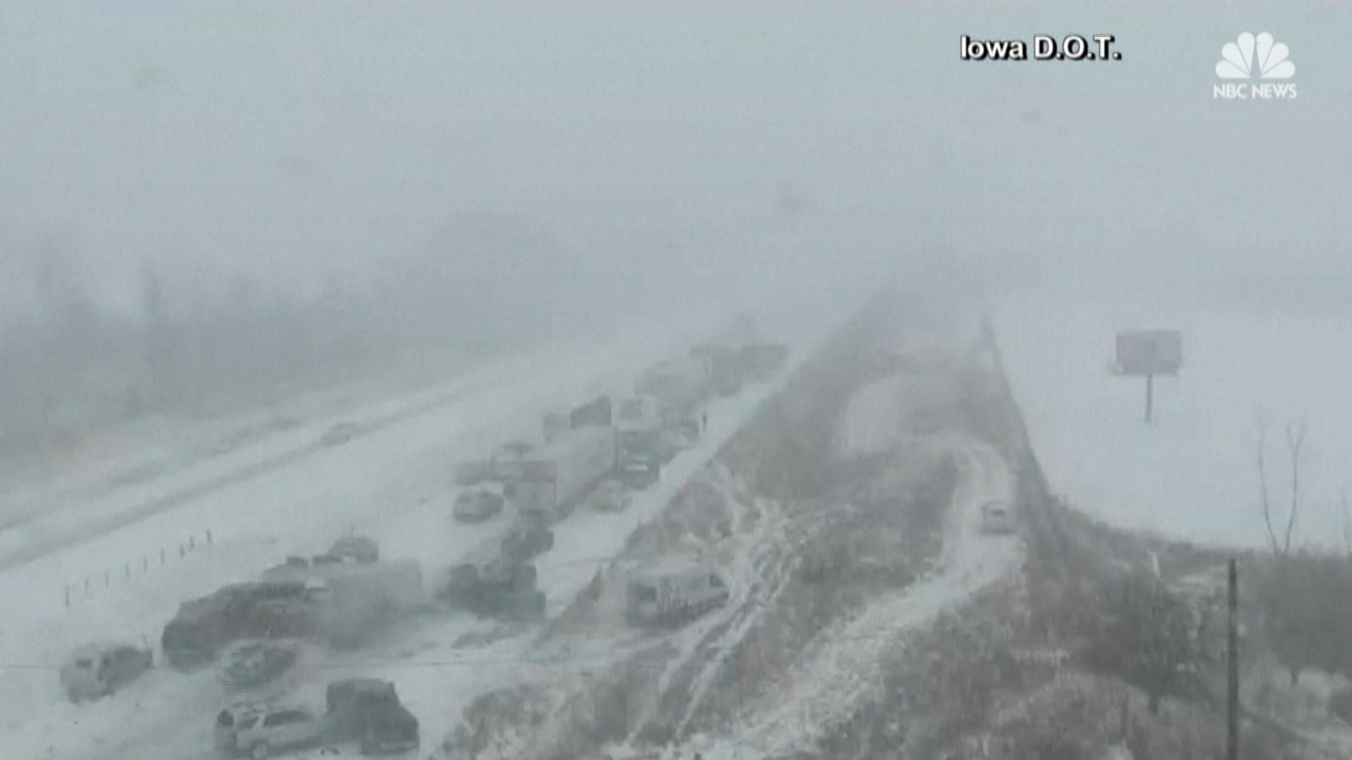 Iowa snowstorm causes massive pileup - NBC News