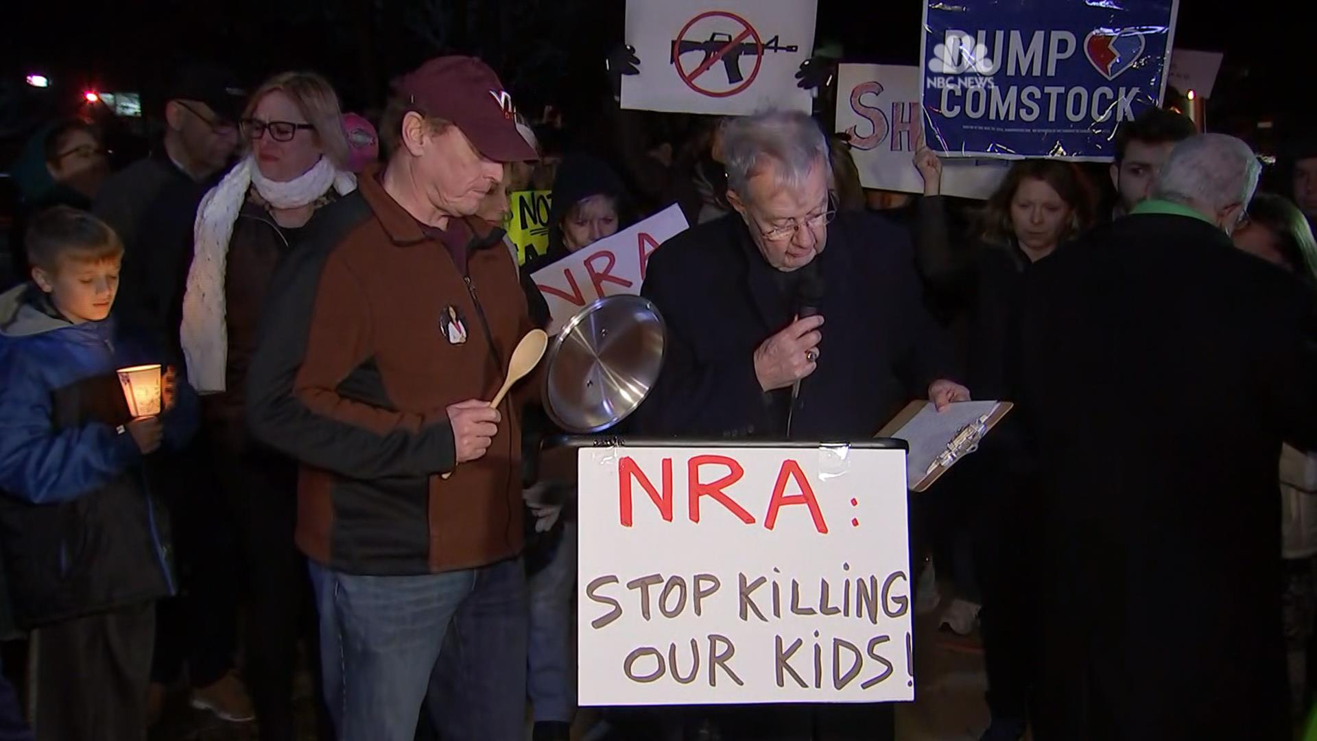 Protesters rally outside NRA headquarters - NBC News