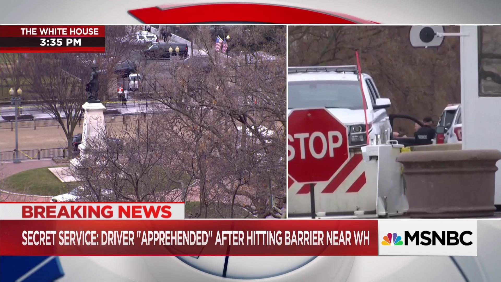 Secret Service: Driver 'apprehended' after hitting barrier near White House