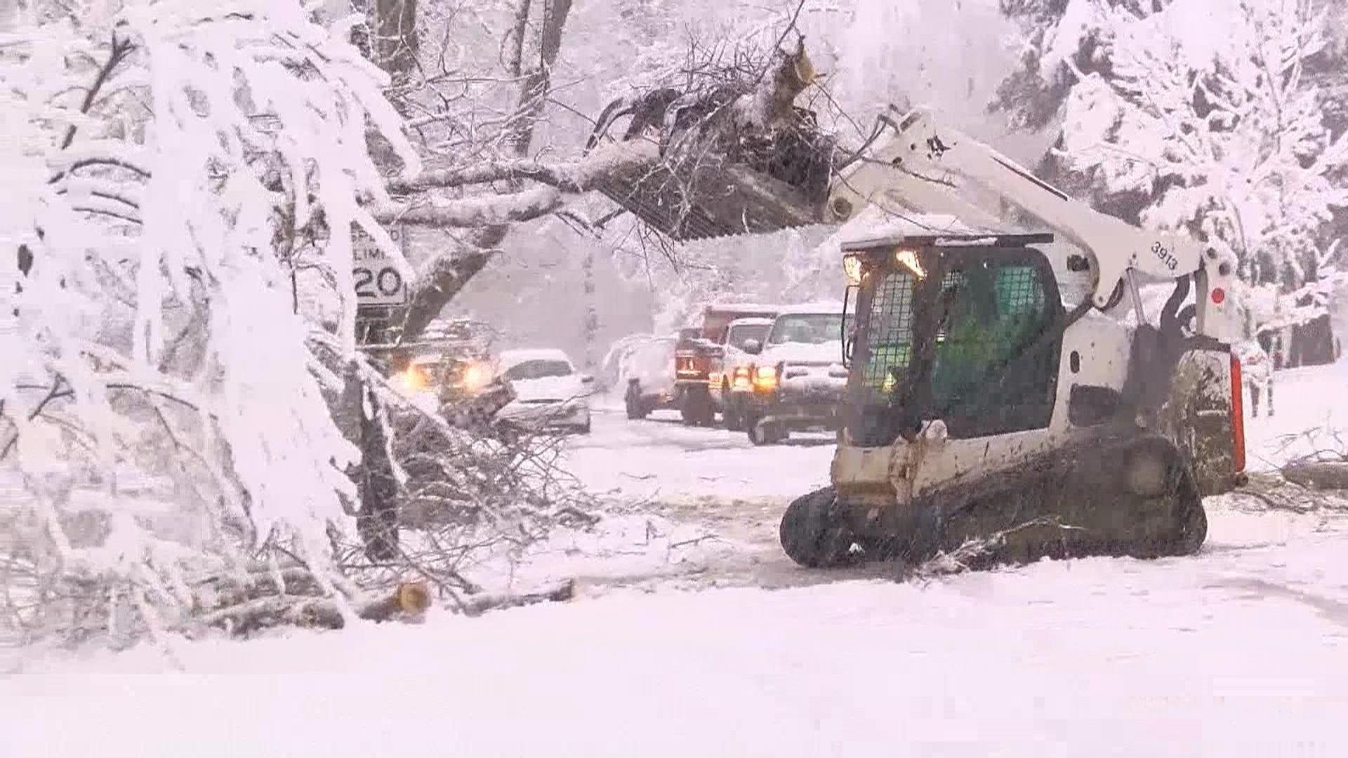Fourth nor'easter in three weeks leaves 90,000 without power after