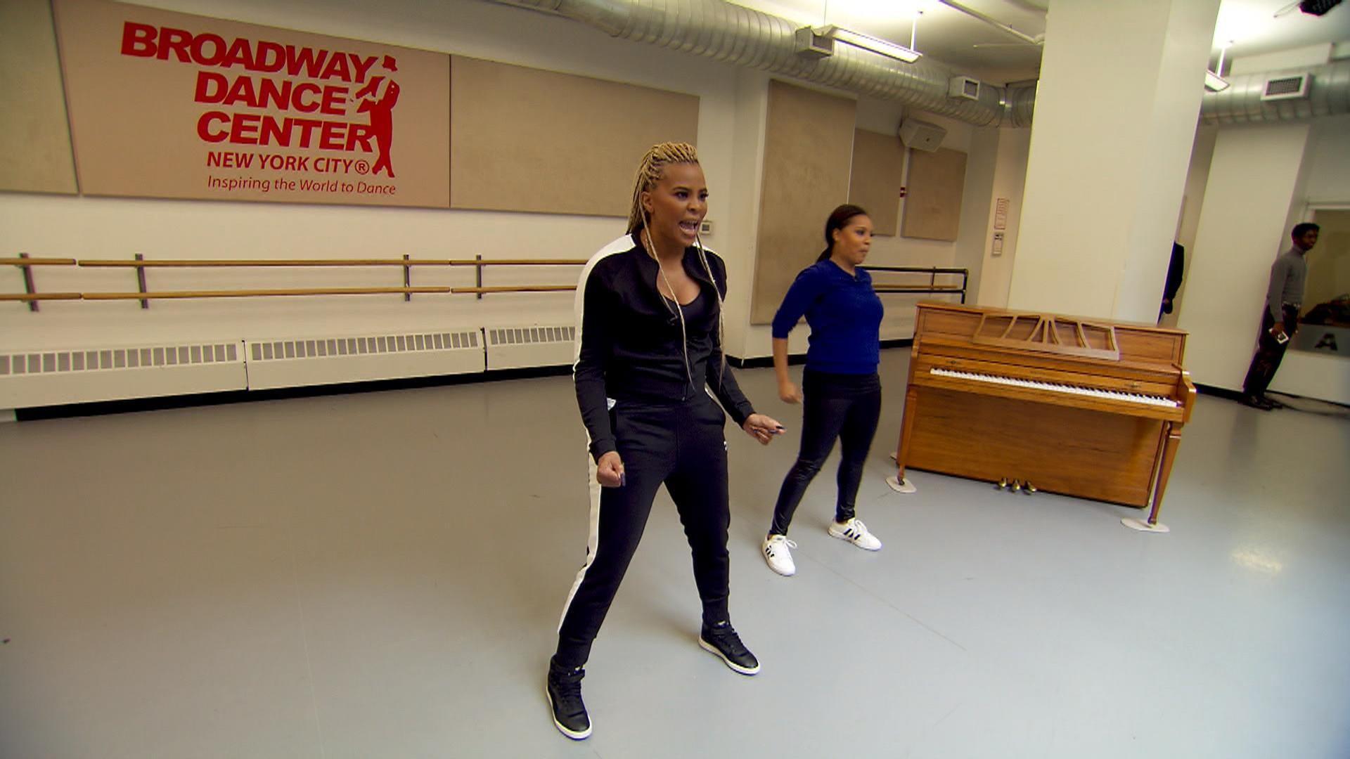 celebrity choreographer laurieann gibson teaches sheinelle some moves