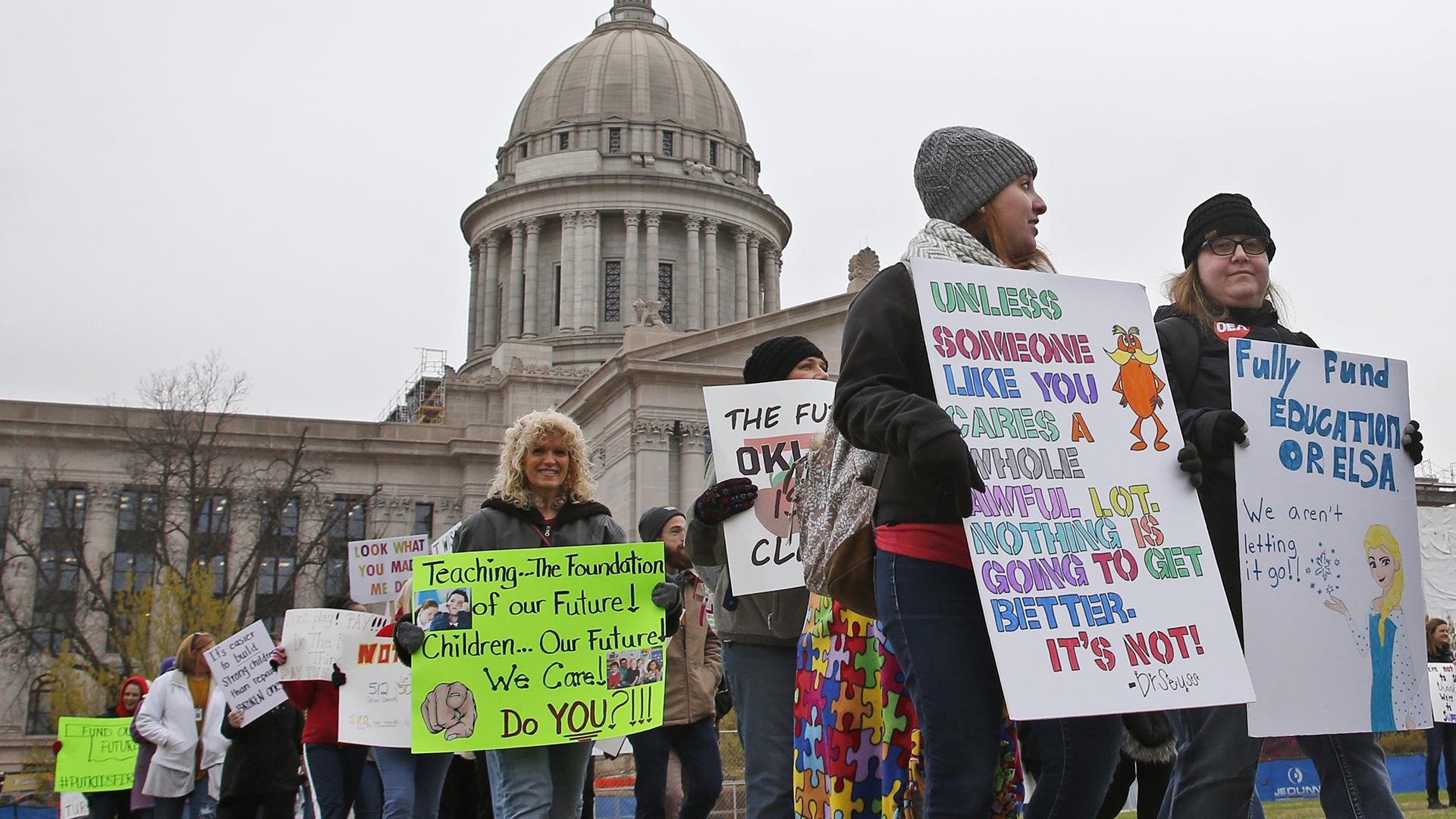 Teachers across Oklahoma walk out in protest