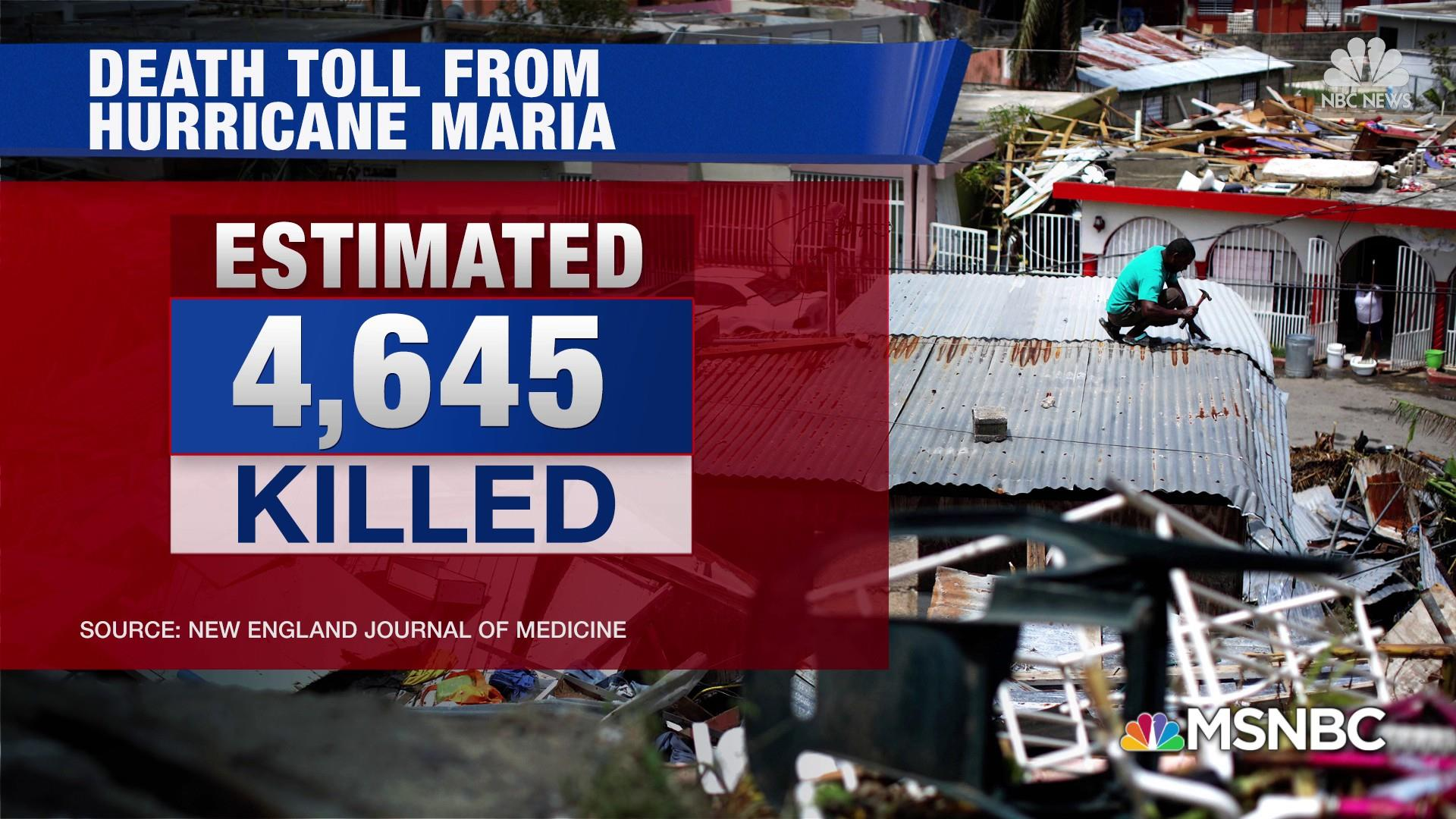 Maria death toll rises to 4,645 in Puerto Rico, new study says