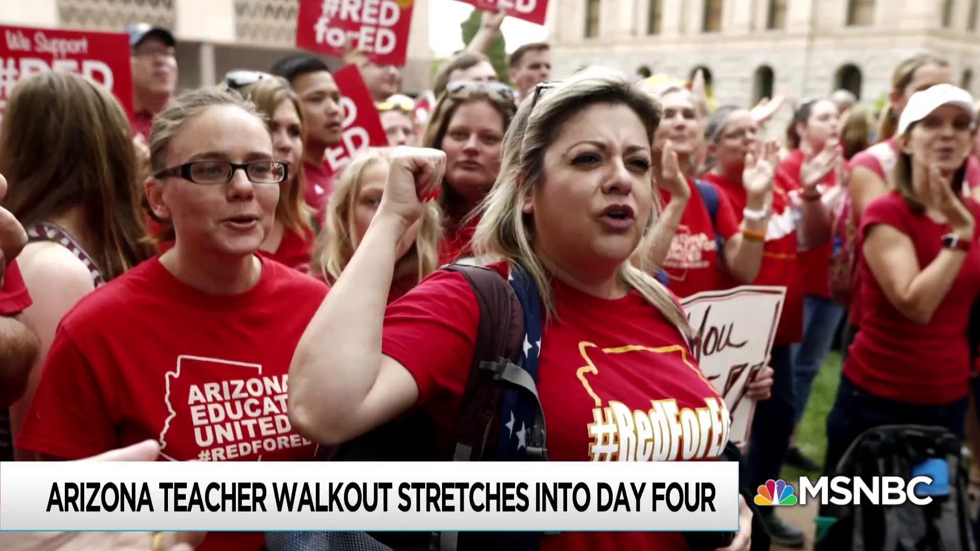 Arizona teachers seeking better pay walk out for fourth day
