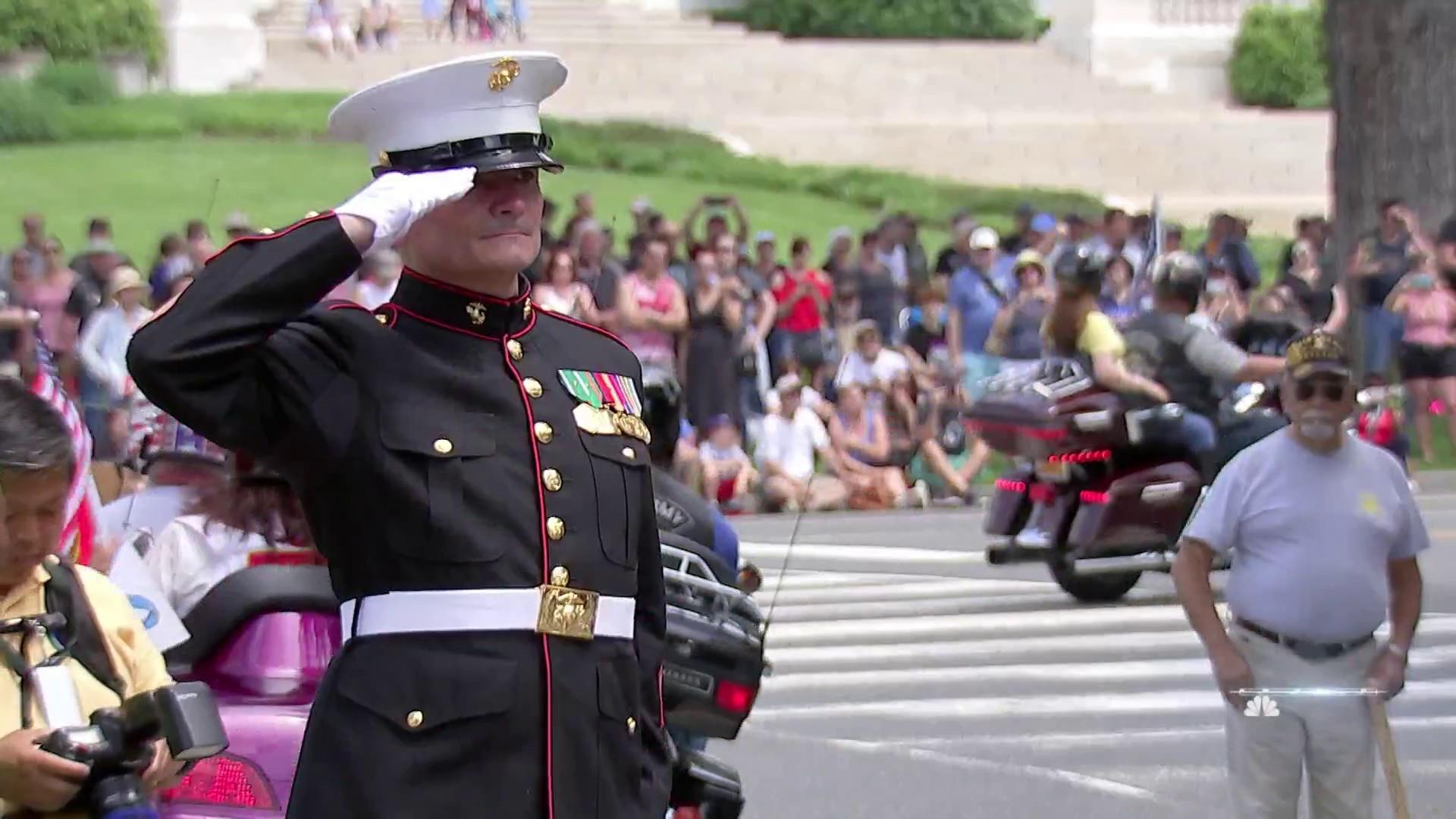 c55d2d01c Marine veteran holds salute for more than four hours every Memorial Day