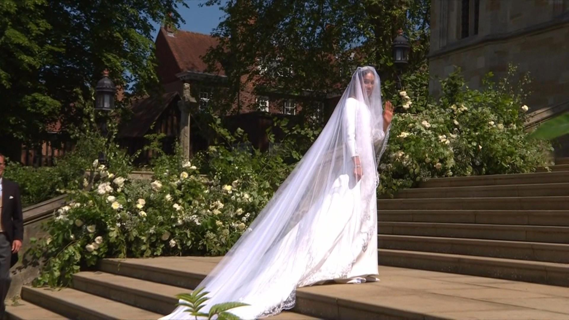 Meghan Markle Makes First Appearance In Wedding Gown