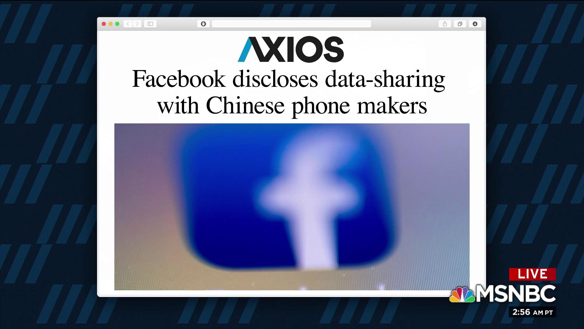 Facebook discloses data-sharing with Chinese phone makers