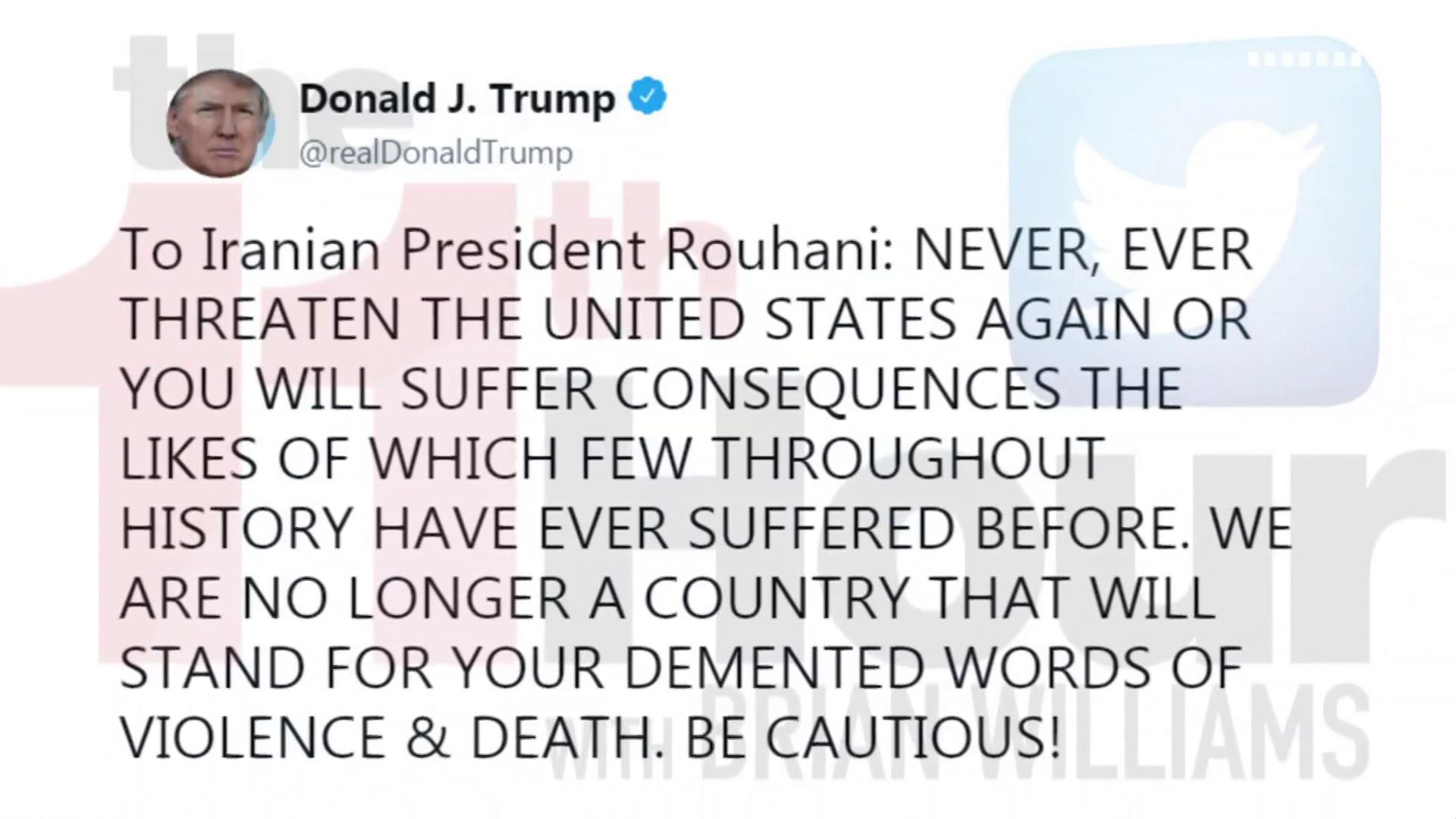 Trump issues dire warning to Iran. On Twitter. In ALL CAPS.