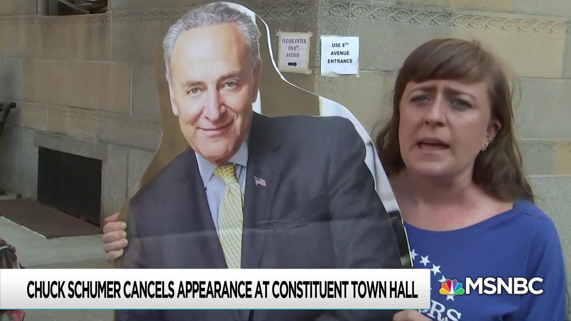 Schumer misses town hall, fired-up constituents hold it anyway