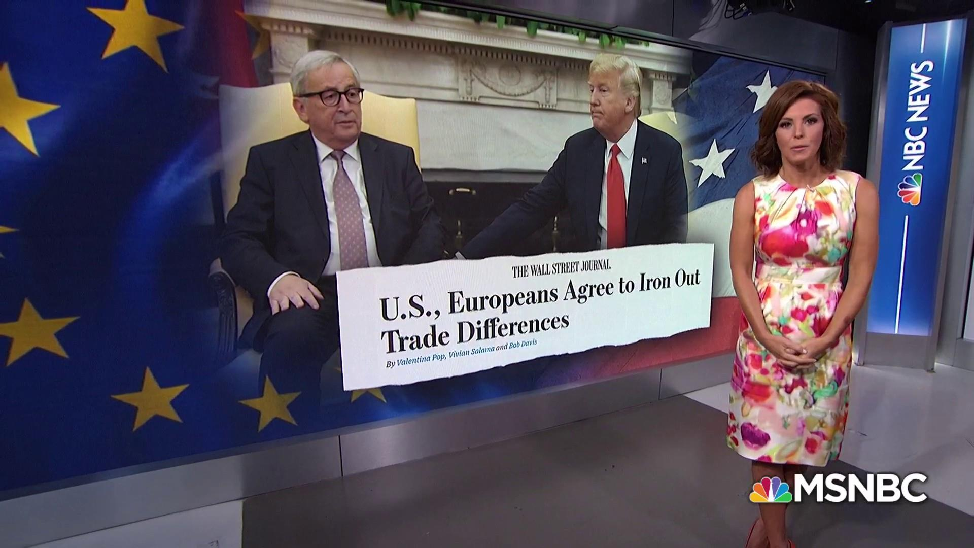 President Trump kisses and makes up with head of EU