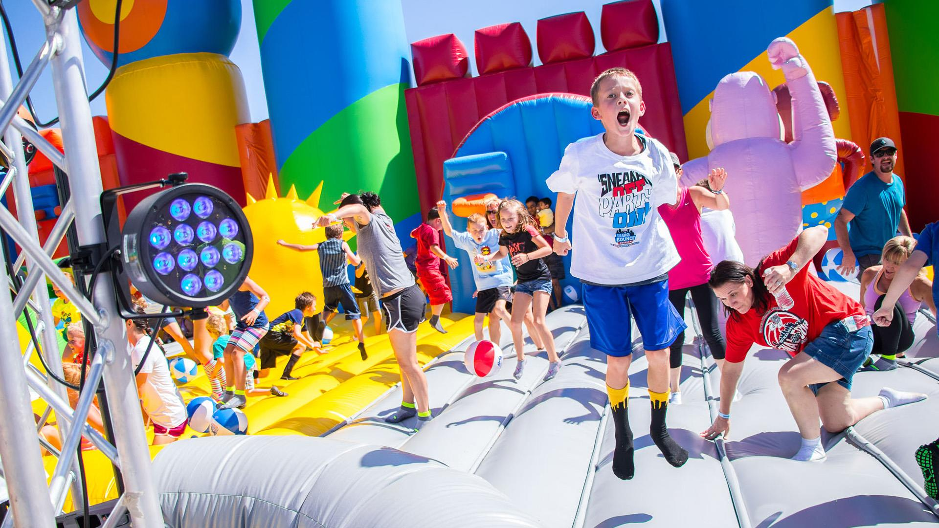 The biggest bounce house in the world is 10,000 square feet