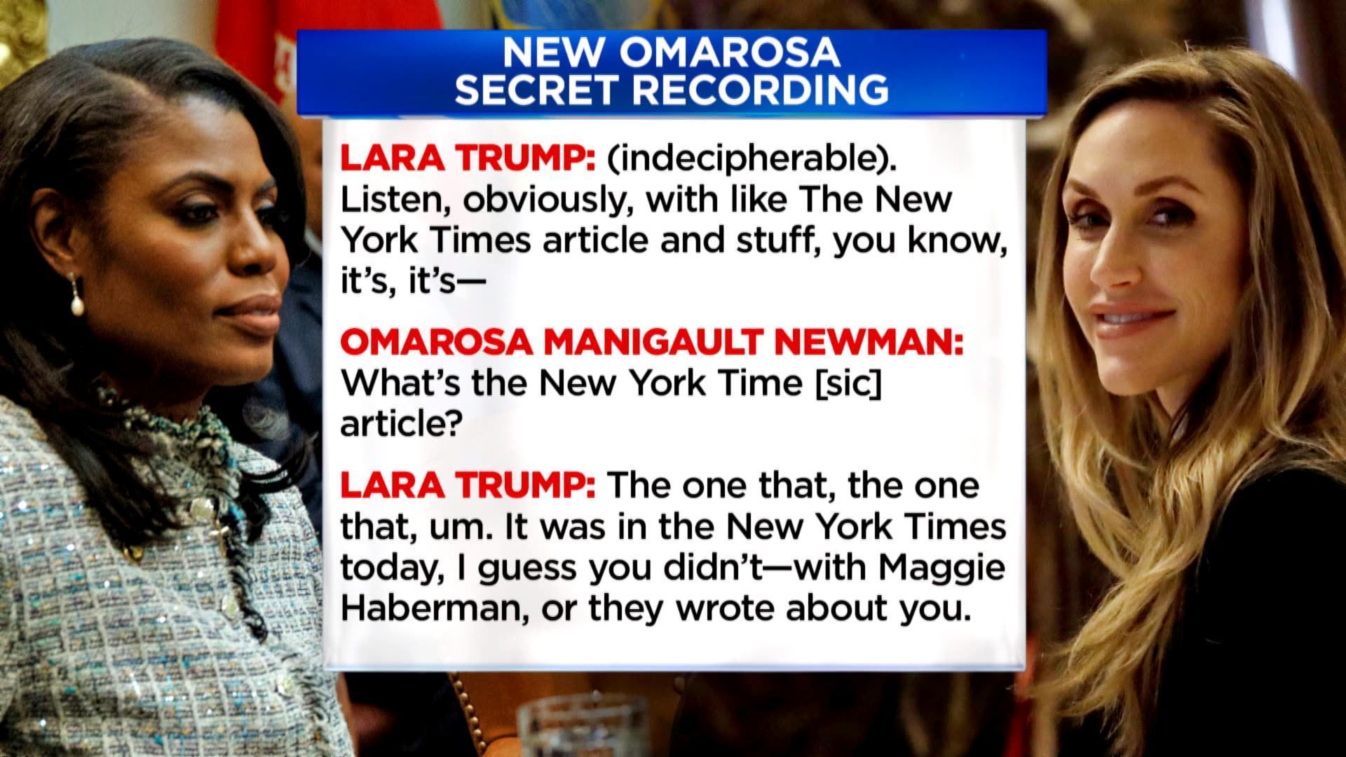 Omarosa releases secret tape of Lara Trump offering her $15K-a-month campaign job