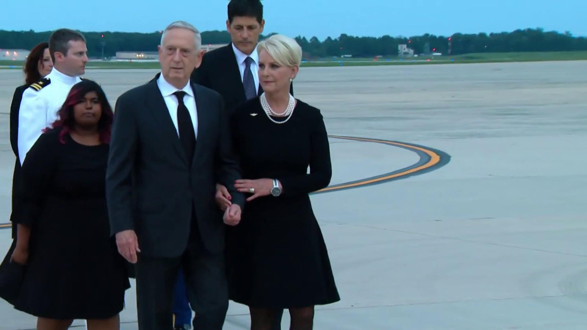 McCain casket arrives at Joint Base Andrews
