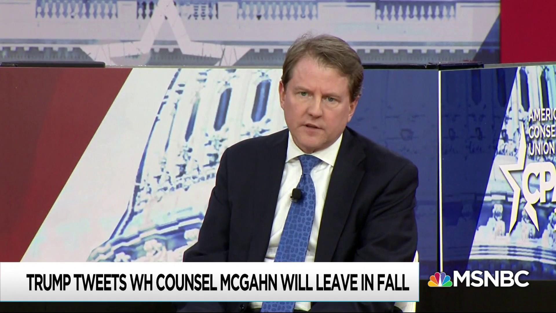 Trump surprises McGahn with departure tweet as legal messes grow