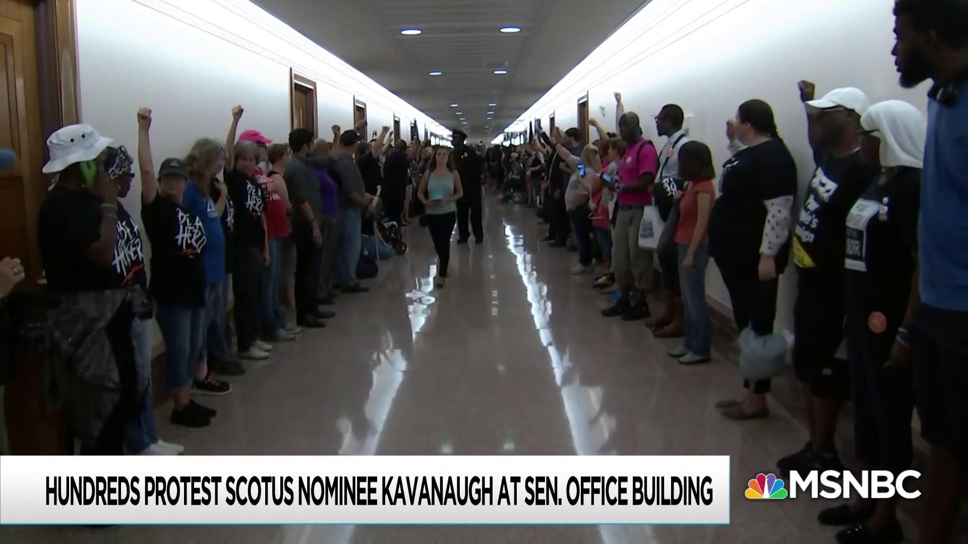 Protesters dog Brett Kavanaugh through meetings with senators