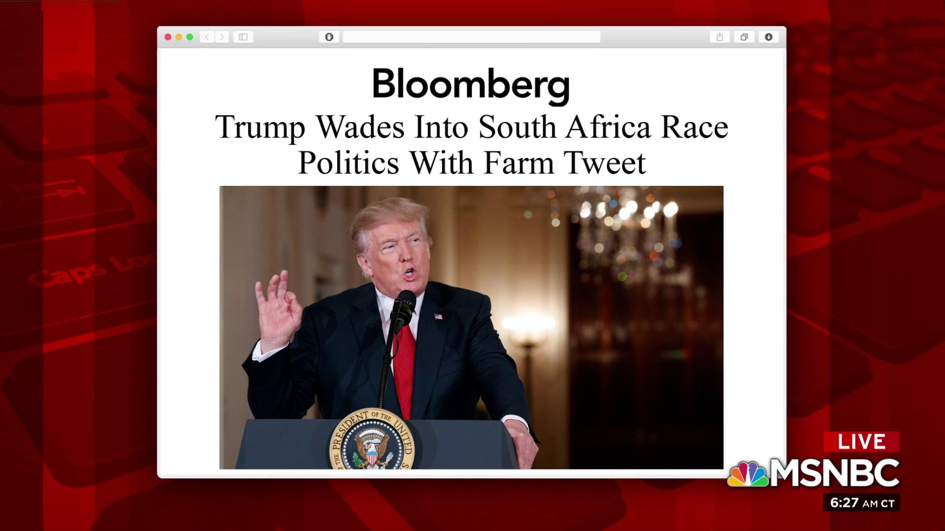Trump tweets about South Africa; South Africa responds