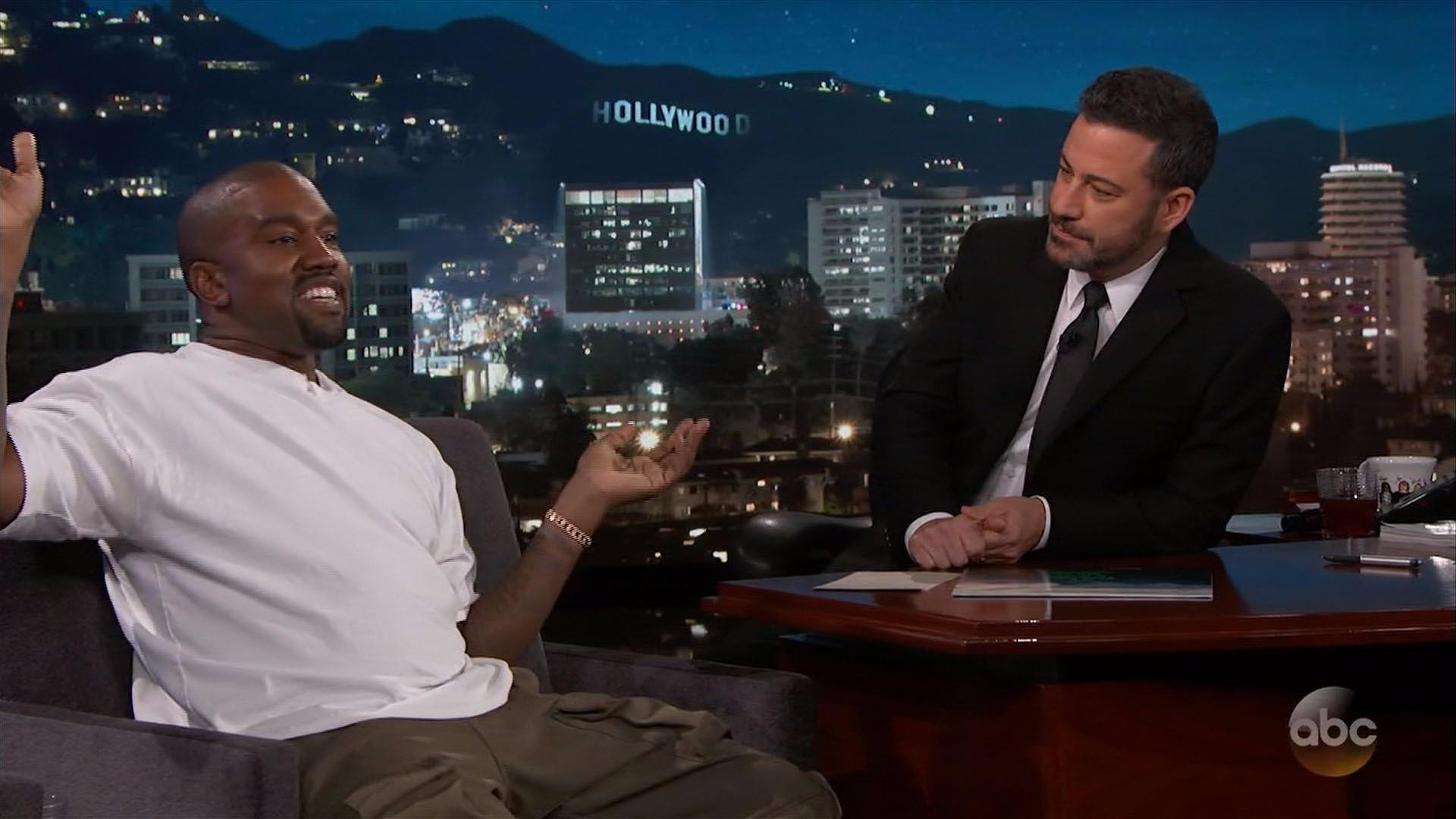 Kanye West goes silent on Jimmy Kimmel's Trump question