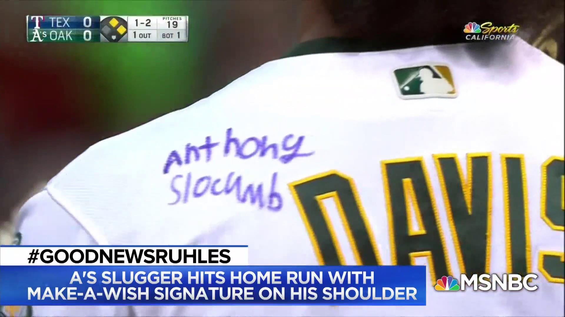 cheap for discount 72ede 26fc2 Oakland A's Khris Davis hits homer after Make a Wish patient signs jersey