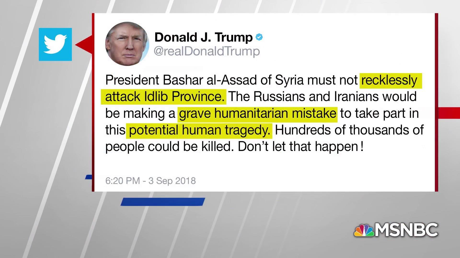 Trump warns Assad against attack on rebel base
