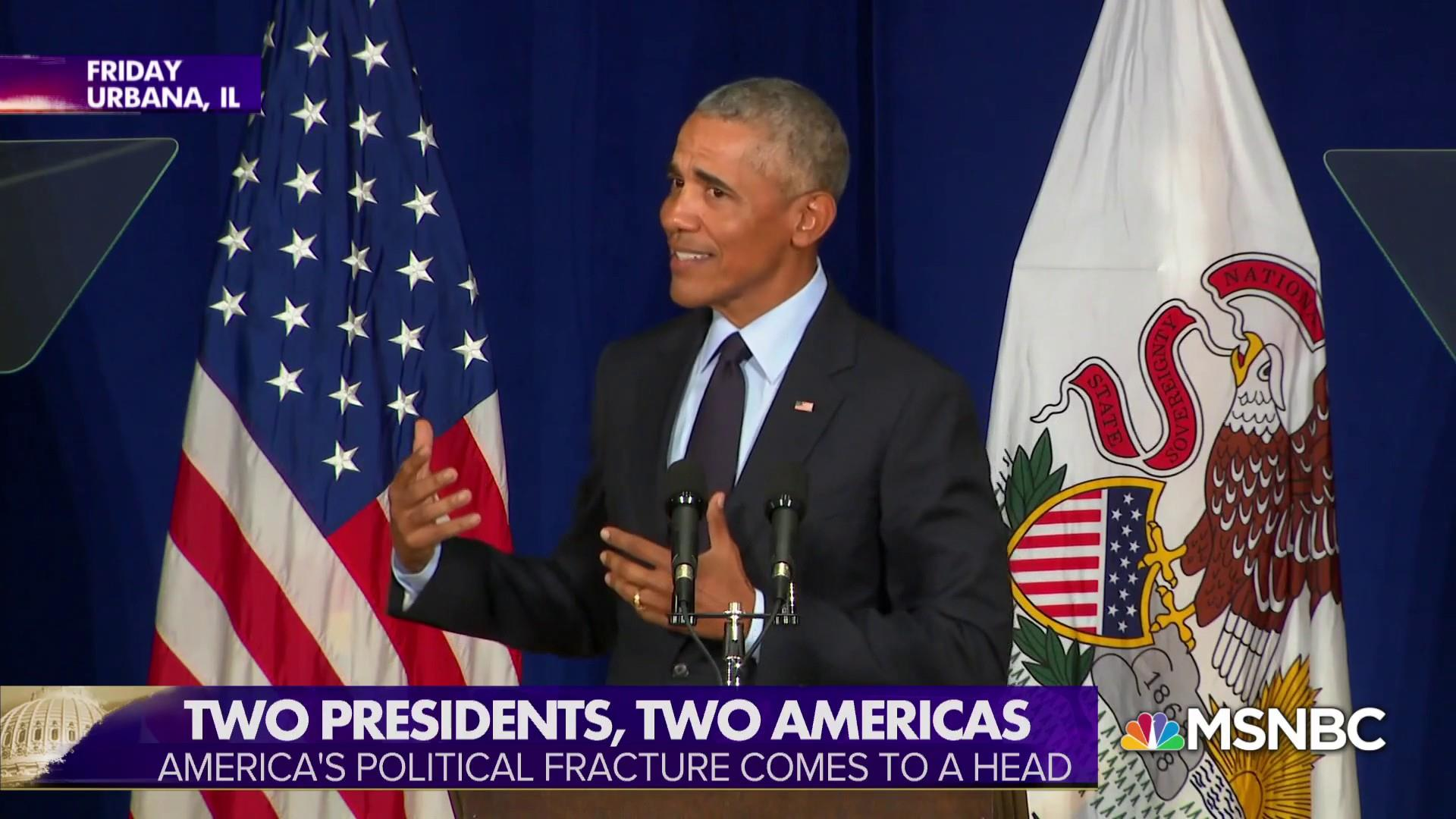 Tale of Two Americas: Trump & Obama offer contrasting visions