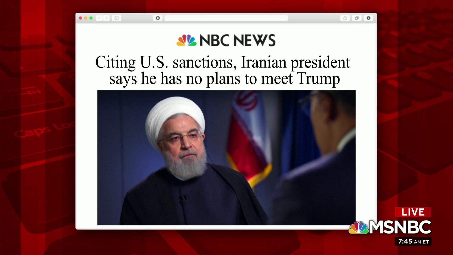 Trump says no plans to meet with Iranian president