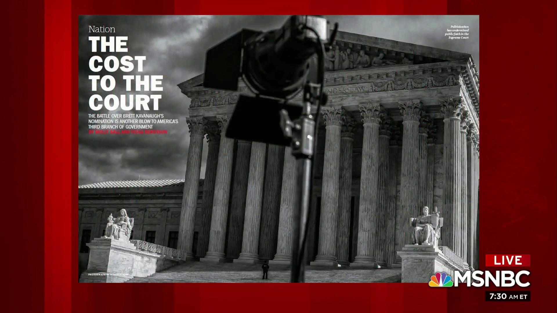 Time Magazine looks at 'The Cost to the Court'