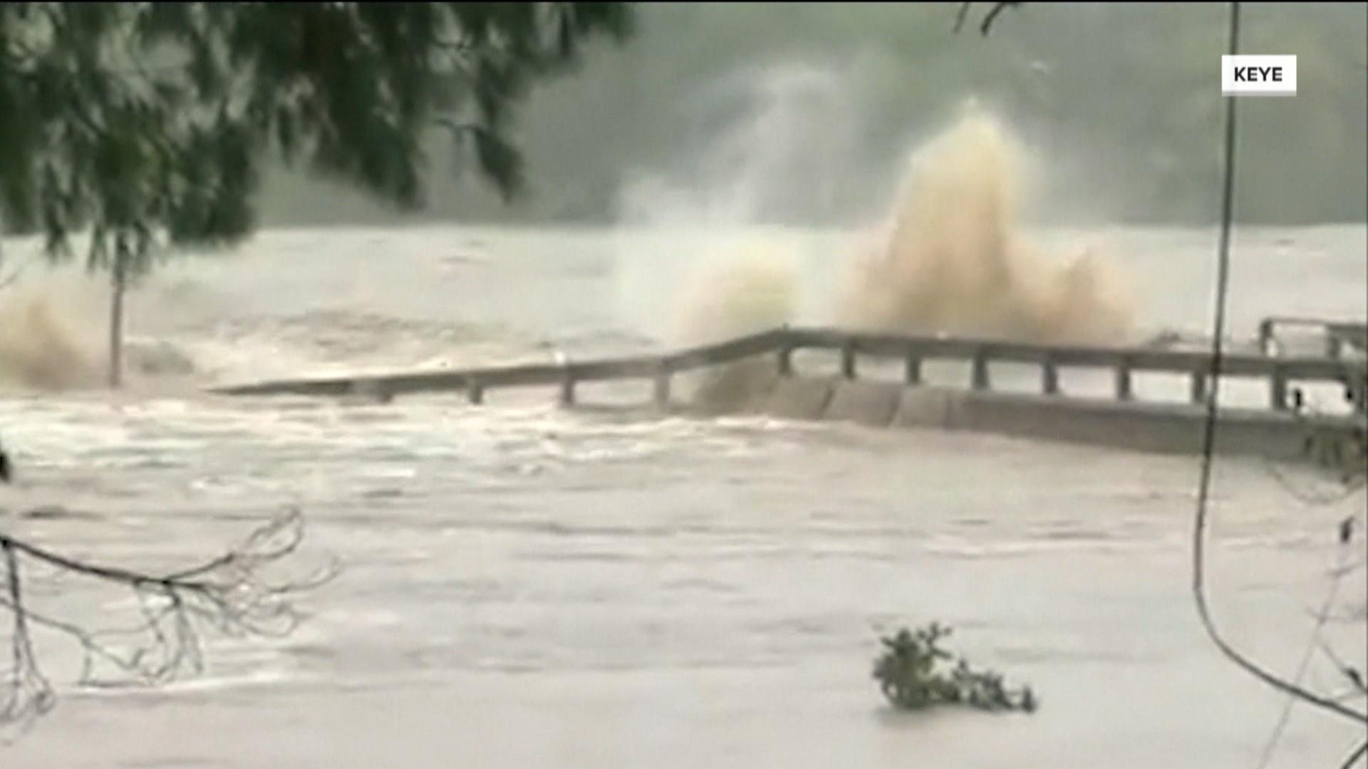 catastrophic flooding in texas causes evacuations bridge destruction