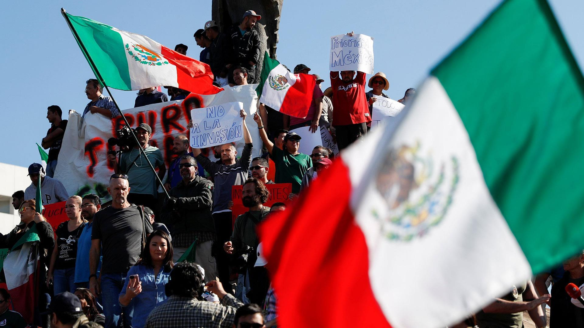 Protesters in Tijuana, Mexico, want migrant caravan to leave