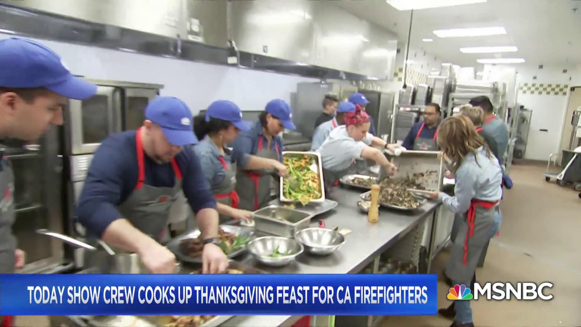 Today Show crew cooks up Thanksgiving feast for California firefighters