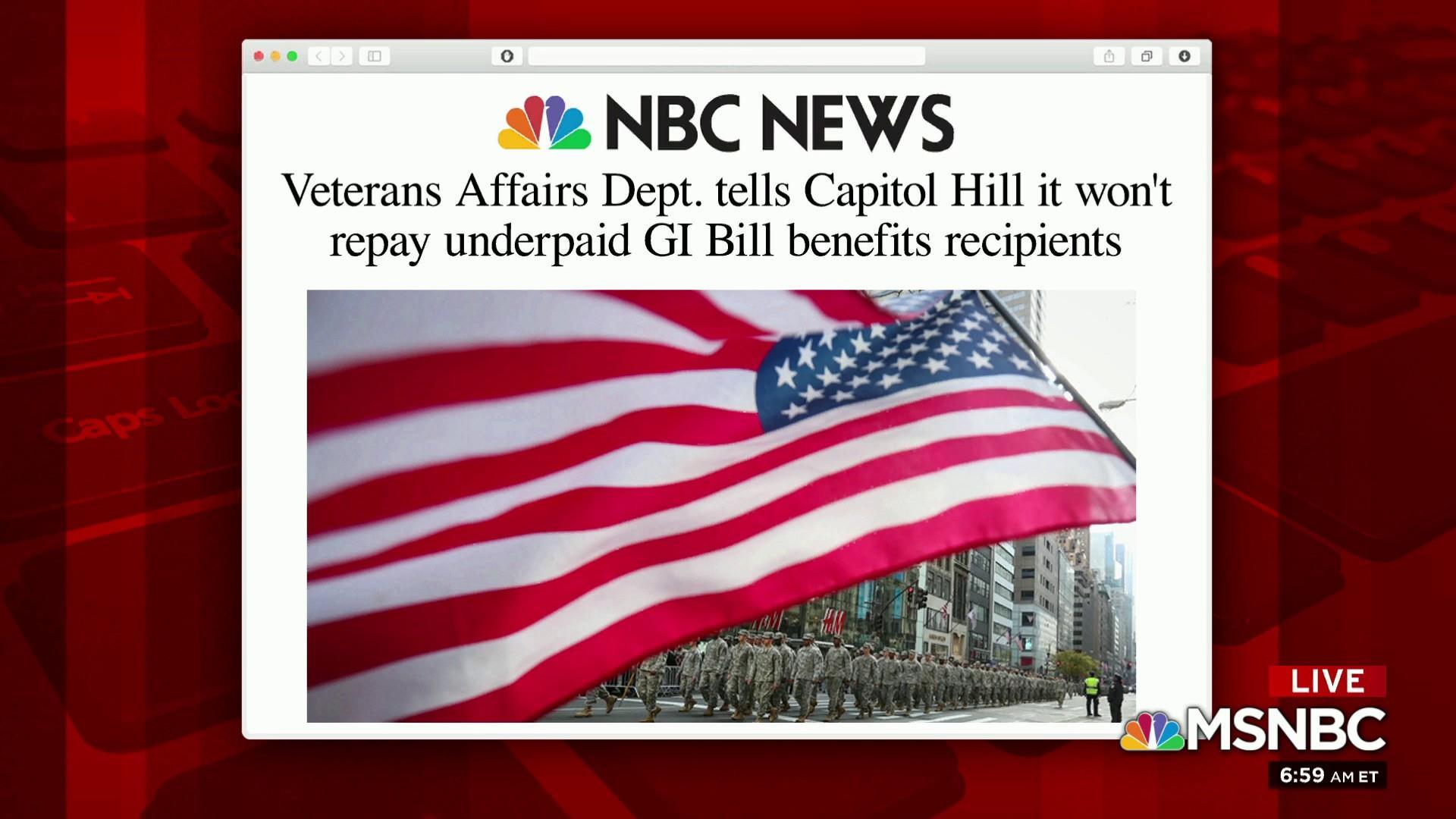 veterans affairs dept tells capitol hill it won t repay underpaid