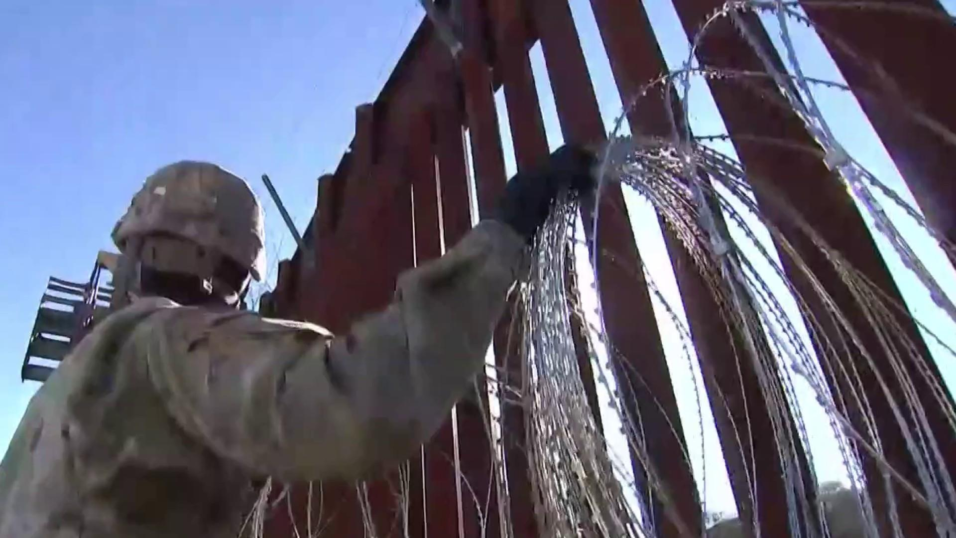 The 'human wall' of soldiers at the U.S. southern border