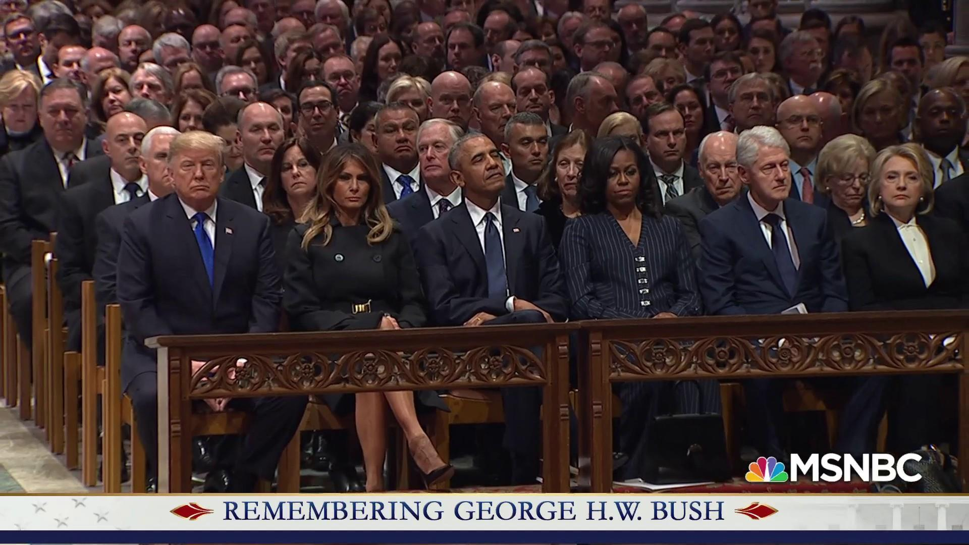 Former presidents sit together in National Cathedral to honor H.W. Bush
