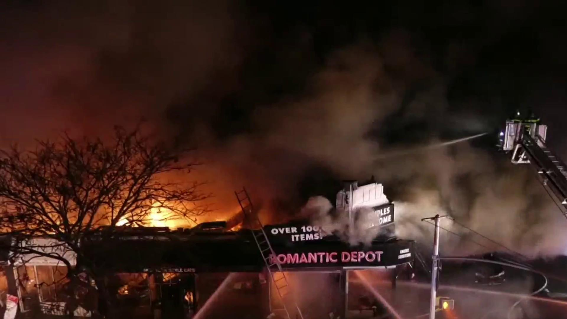 Video captures terrifying explosion during five-alarm fire
