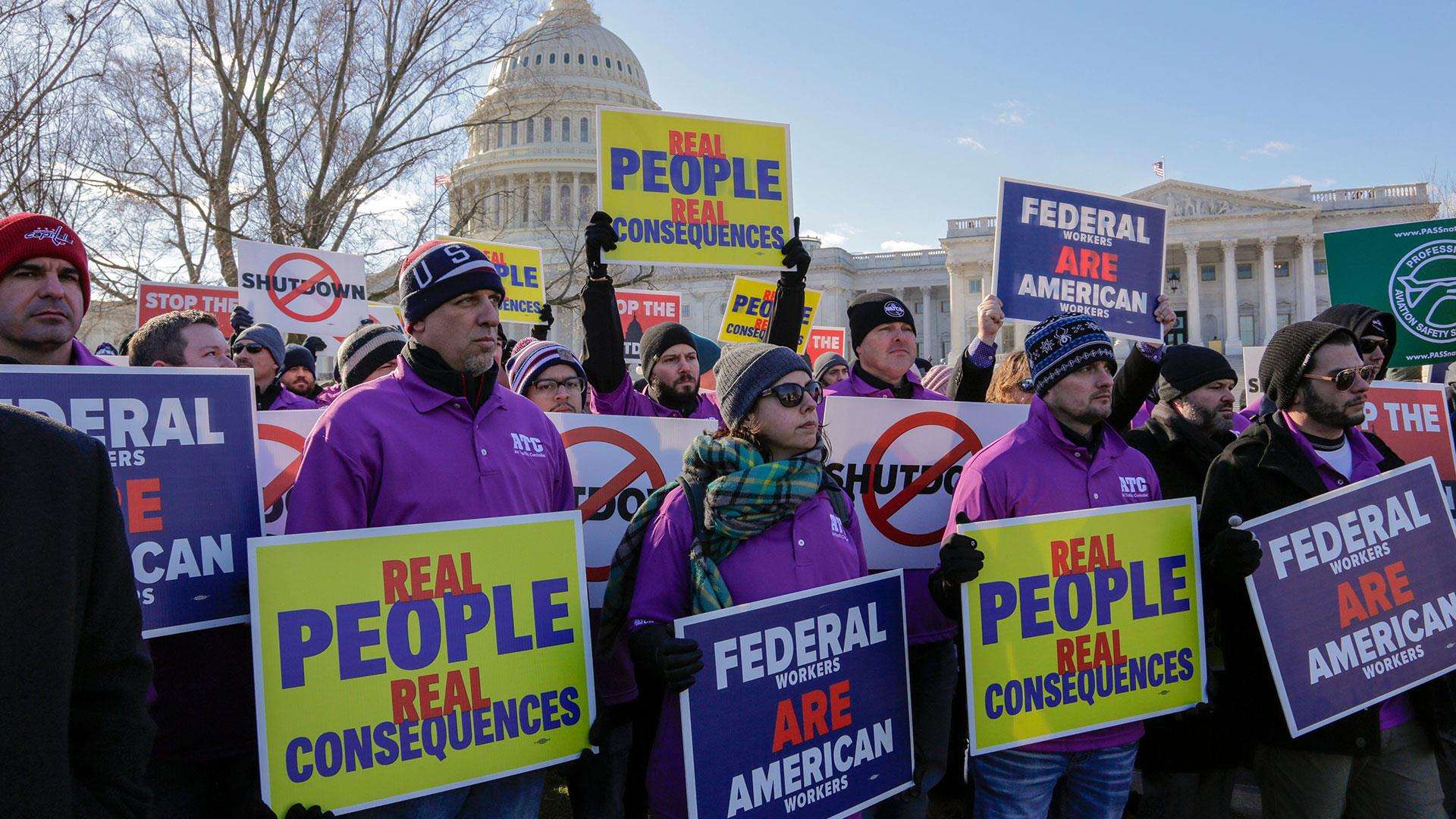 Angry furloughed federal workers protest shutdown at the White House, around the country