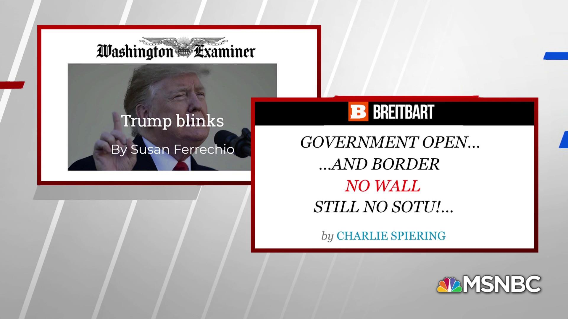 Right wing lashes out at Trump after caving on shutdown