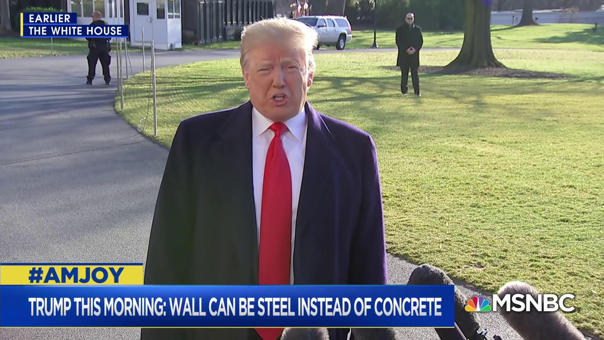 Trump says wall can be steel instead of concrete
