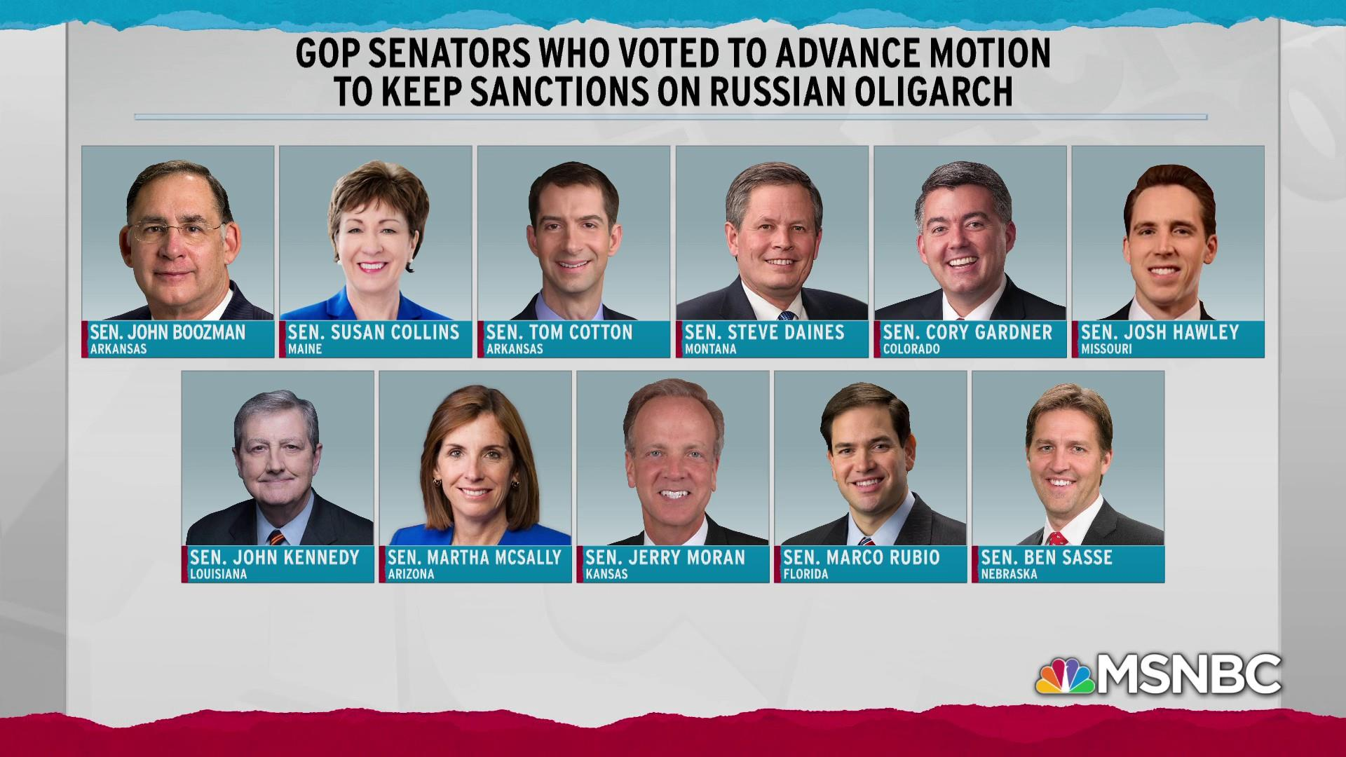11 Republican senators break with Trump in rebuke on sanctions