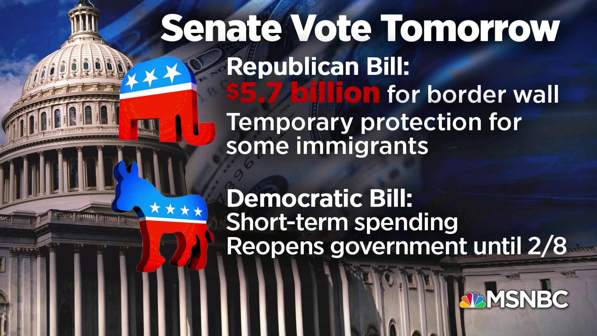 Senate to vote on competing bills to reopen government