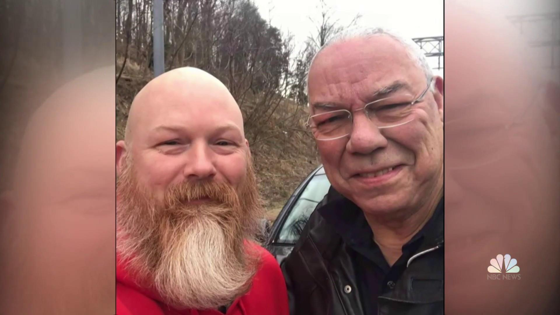 Stranger comes to Colin Powell's rescue, helps him change tire on side of the road