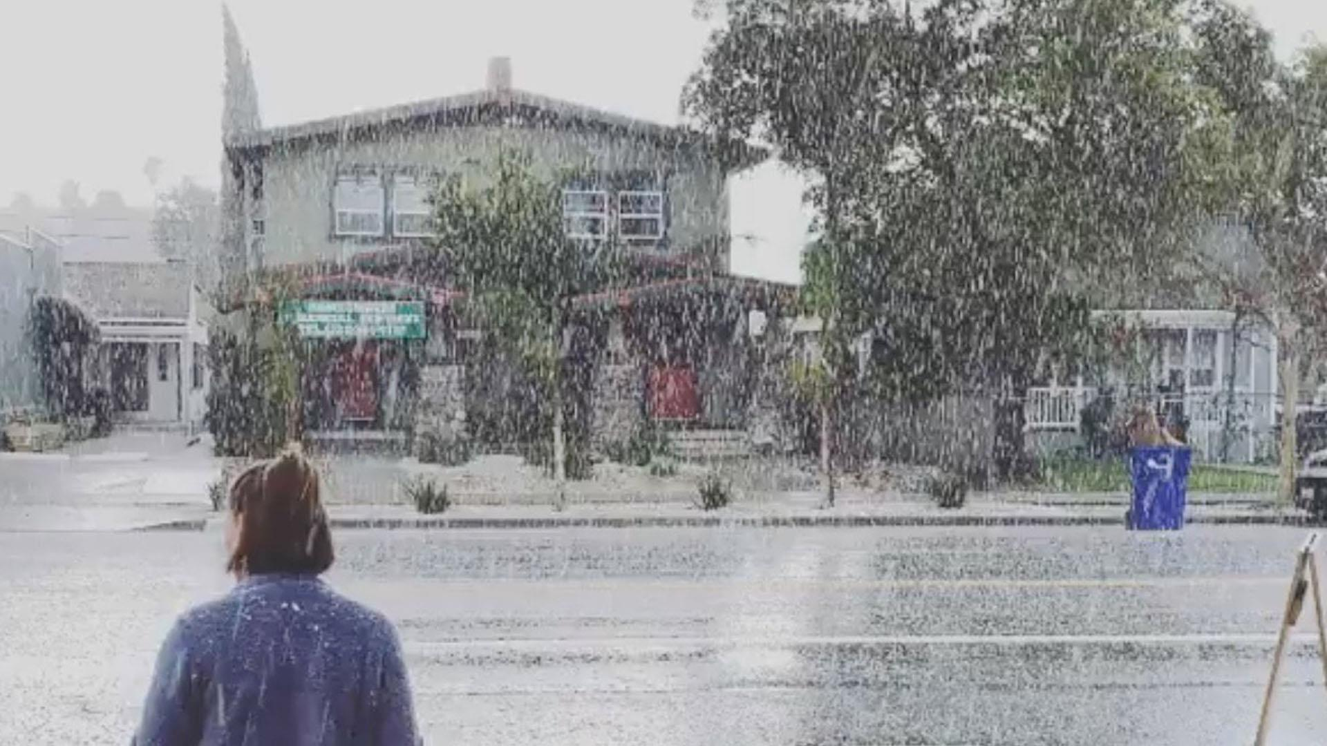 Snow falling in Los Angeles, Pasadena and California's coastal cities.