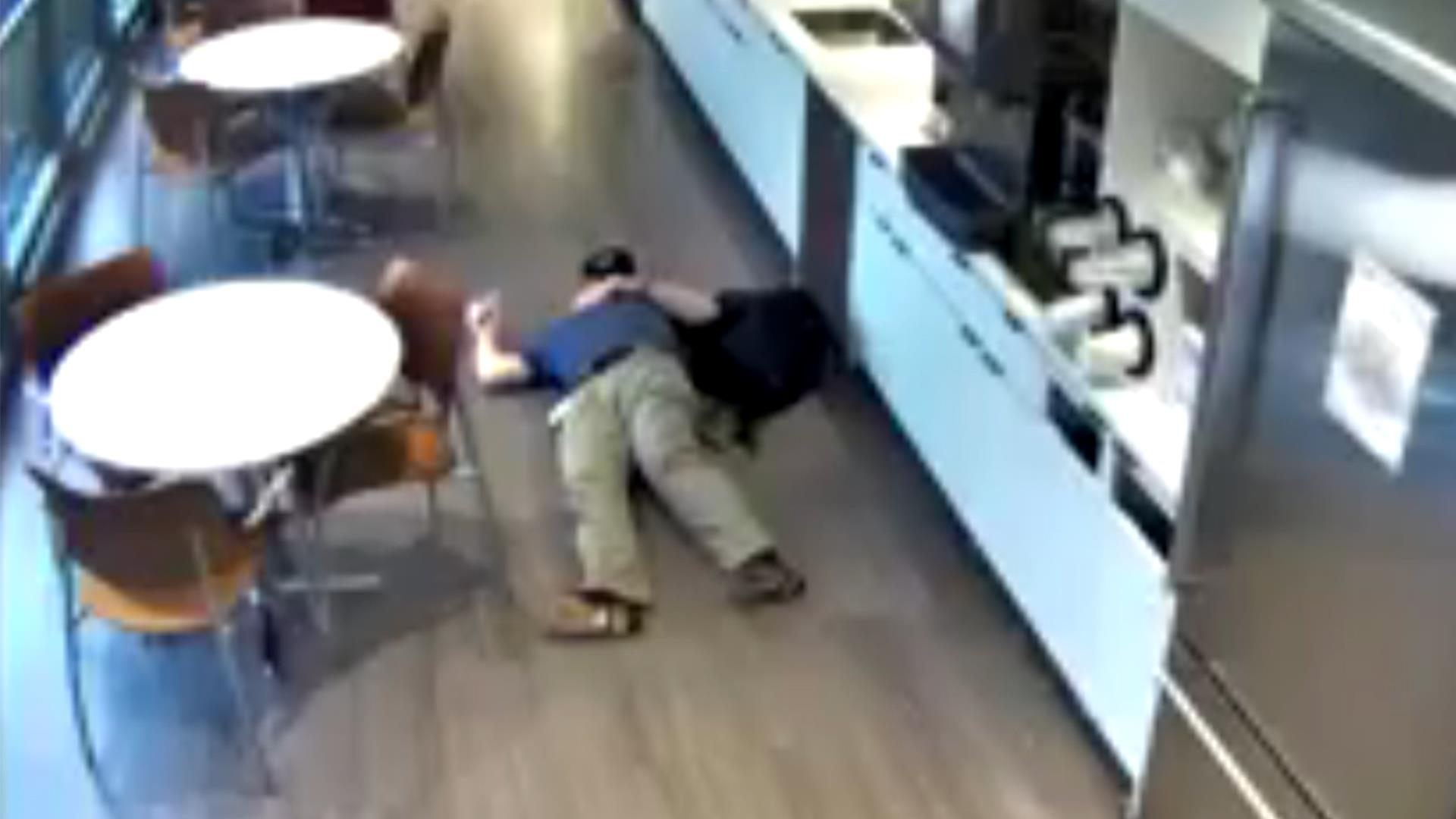 Watch New Jersey man fake workplace fall for fraudulent insurance claim